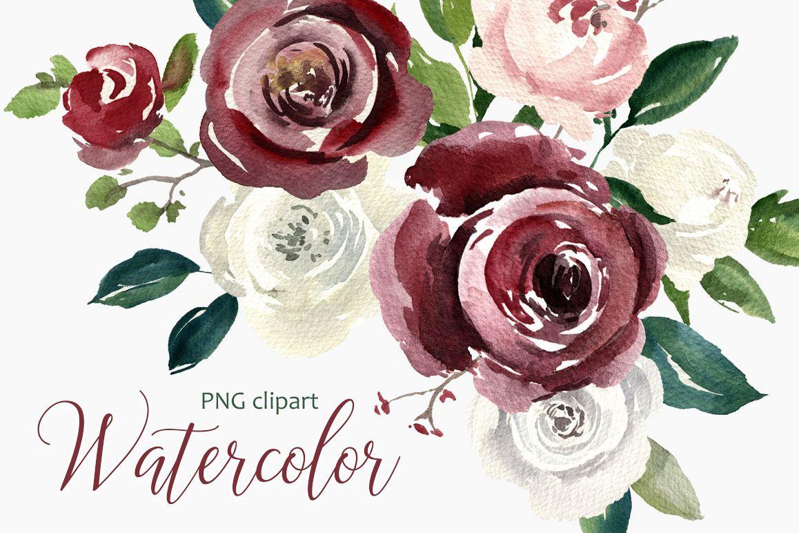Vintage Watercolor Roses Flowers PNG Co | Design Bundles