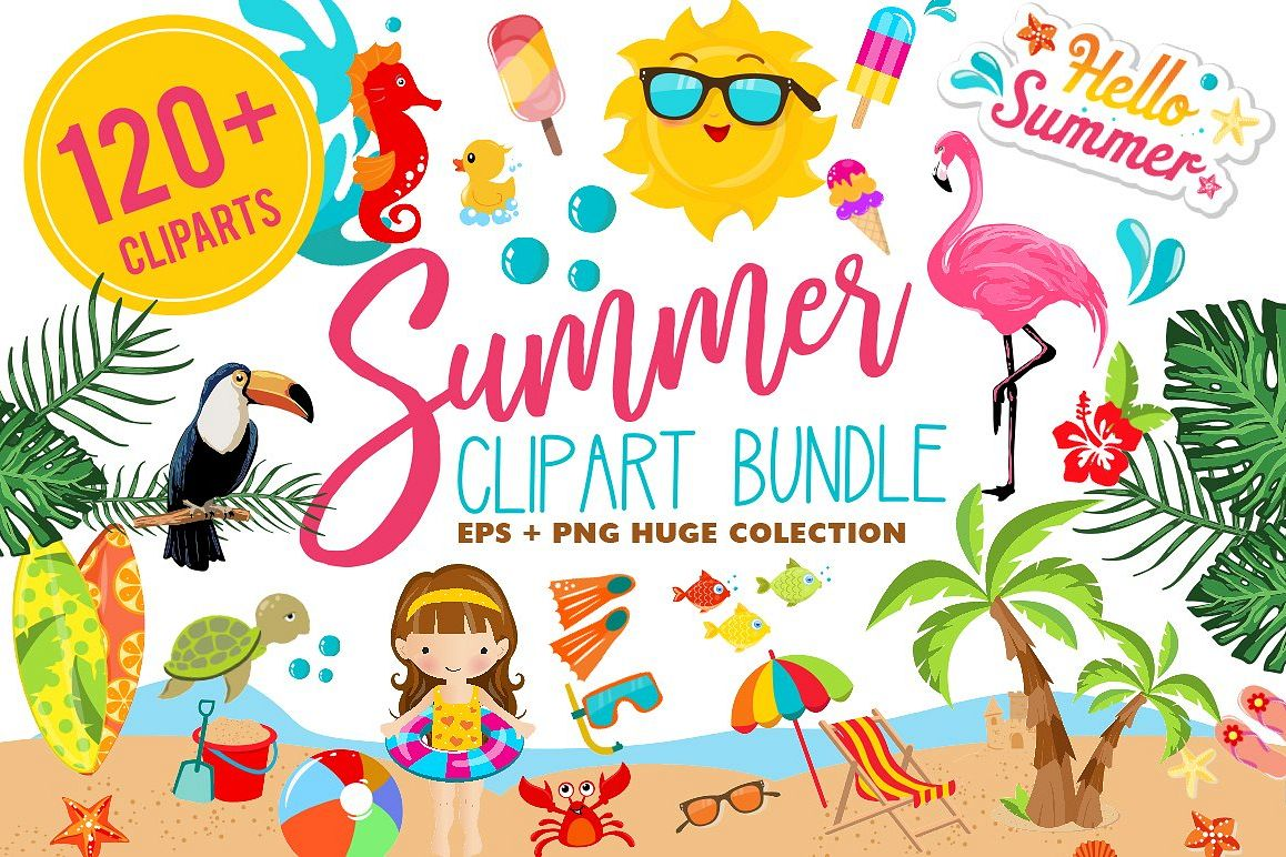 Summer Clipart Bundle - 126 cliparts example image