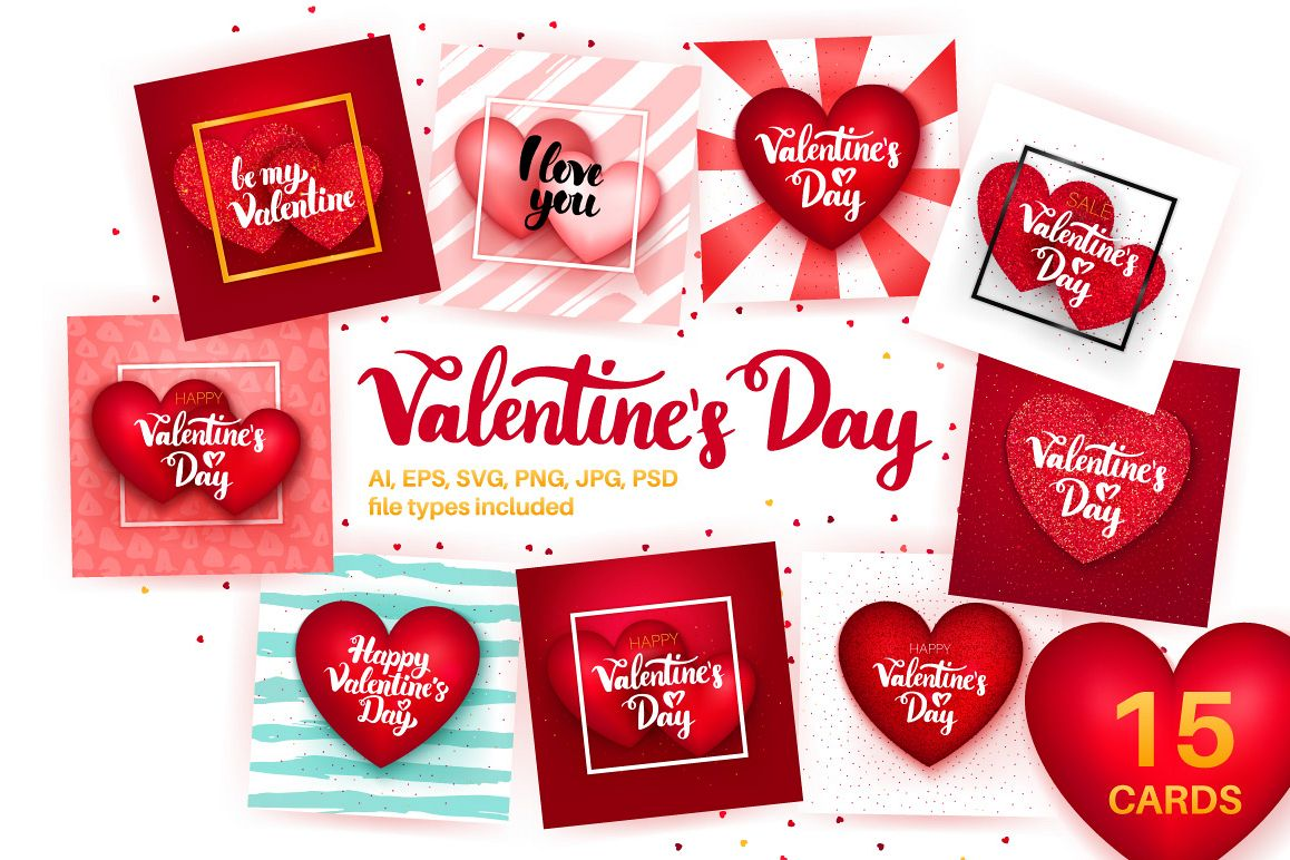 Valentines Day Greeting Cards By Anna Design Bundles