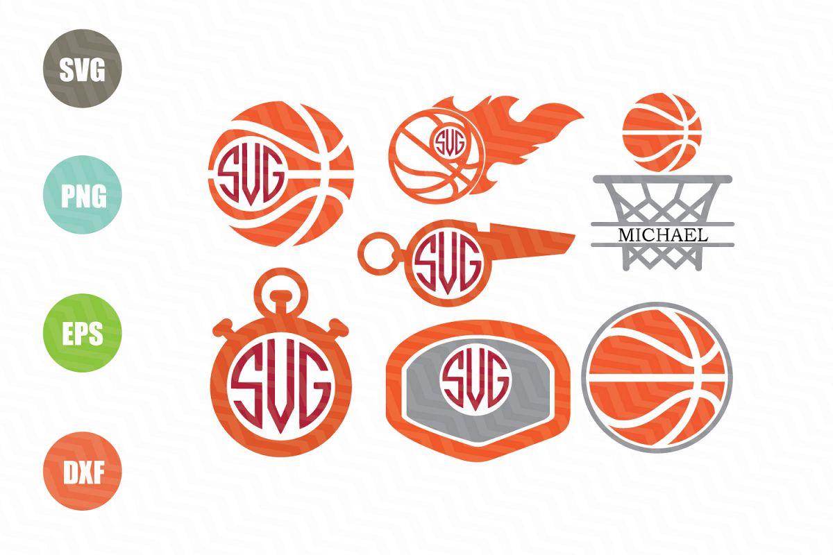Basketball SVG Monogram Frames by NewSv | Design Bundles
