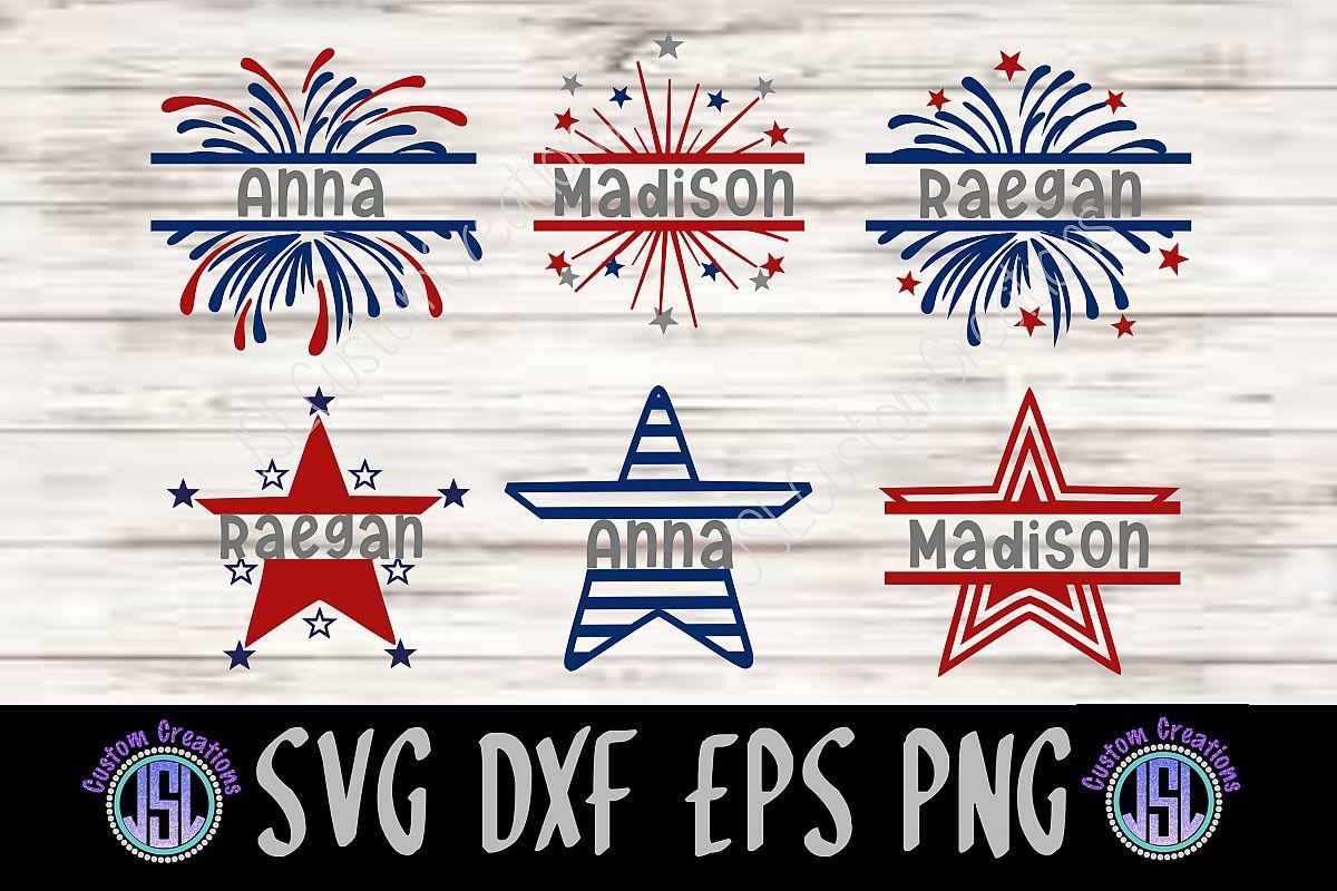 Patriotic Split Name Monogram Frames SV | Design Bundles