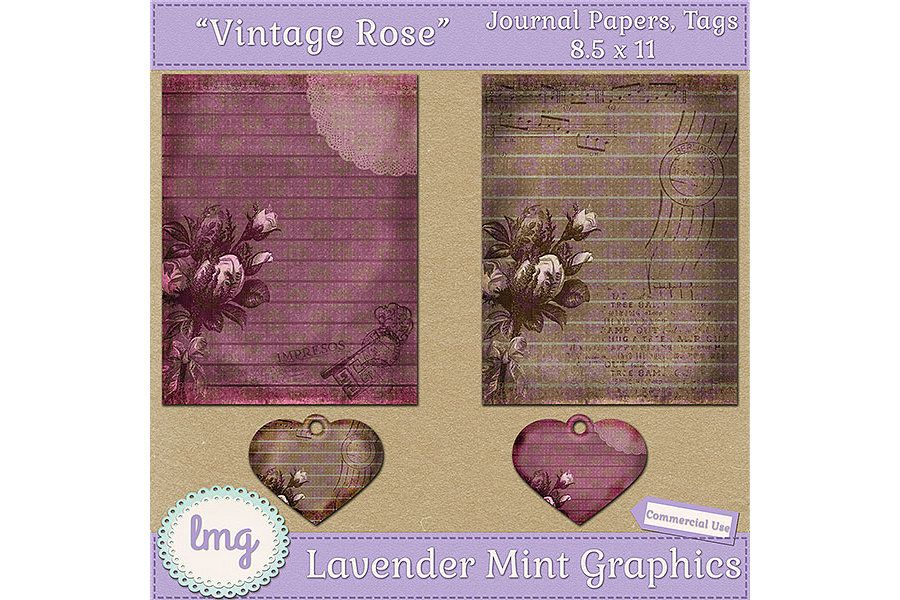Vintage Rose Junk Journal Scrapbook Paper example image 3