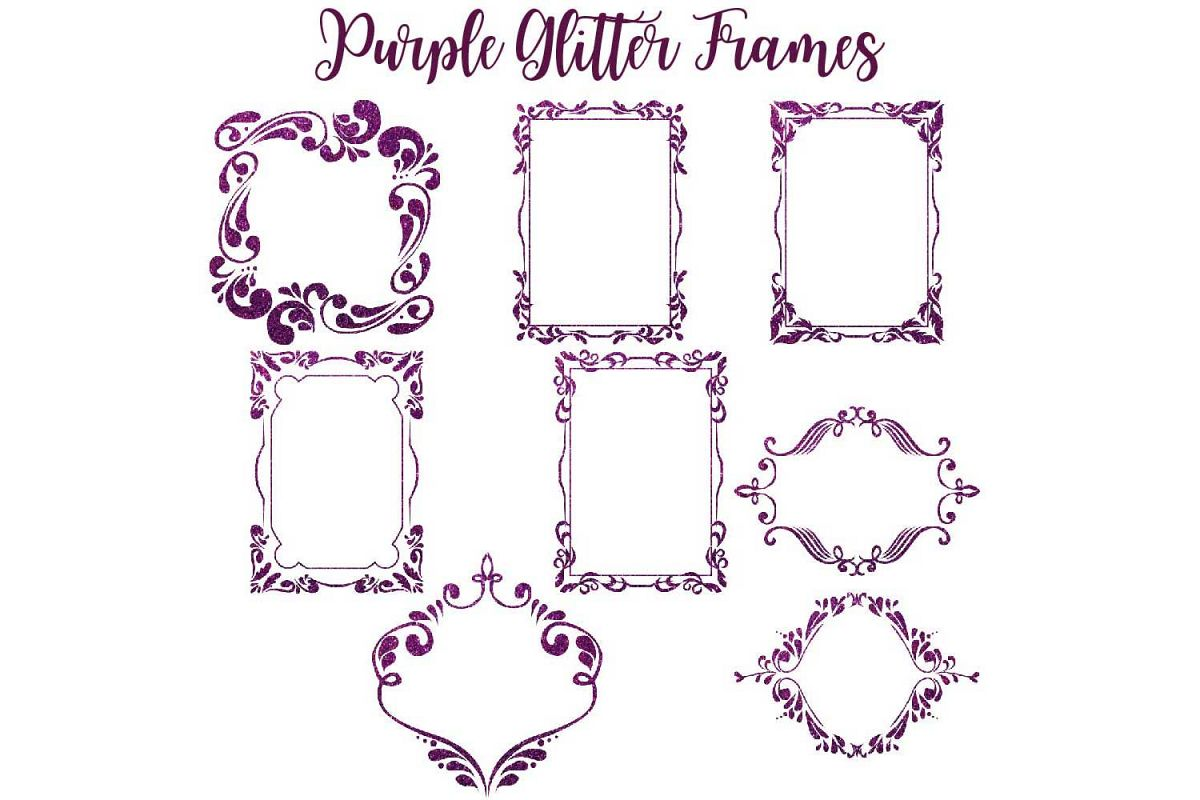 Purple Glitter Frames Clipart by Fantas | Design Bundles