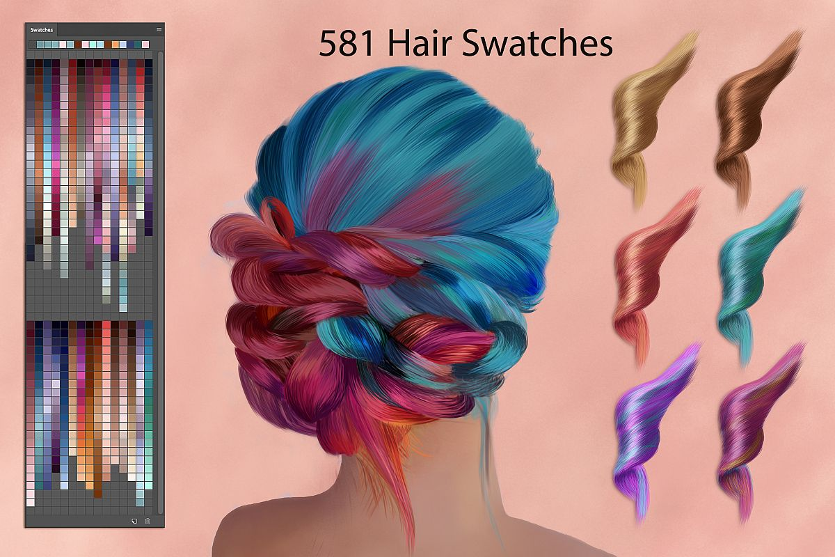 Hair Swatches for Digital Painting by F   Design Bundles