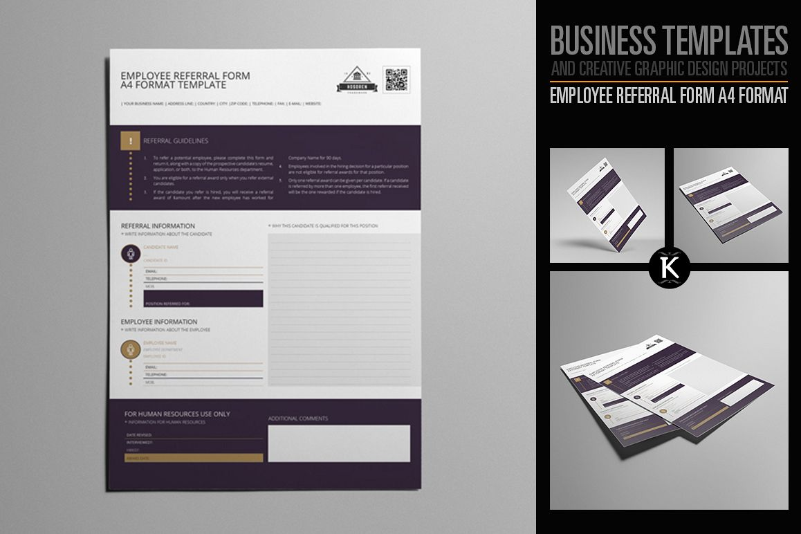 Employee Referral Form A4 Format by Keb | Design Bundles