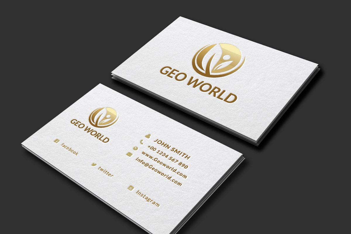 Minimalistic Golden Business card by we | Design Bundles
