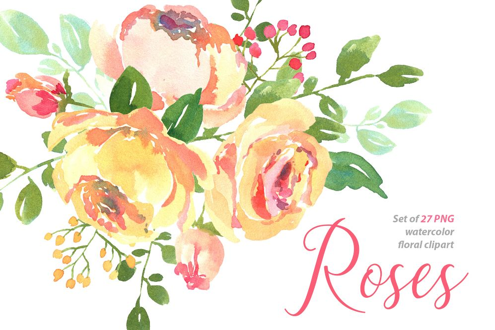 Yellow pink watercolour roses png set b design bundles yellow pink watercolour roses png set example image mightylinksfo Gallery