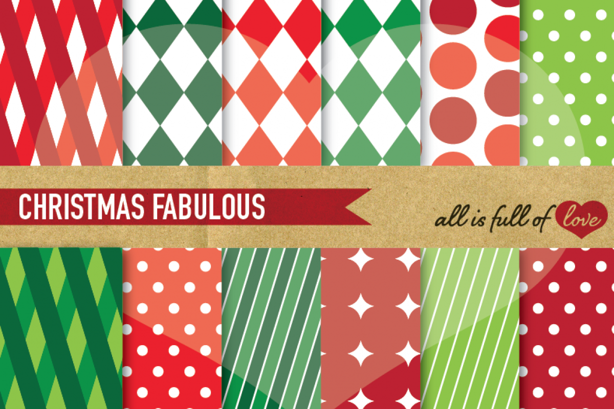 Christmas Digital Paper Pack Xmas Background Graphics in Red and Green example image