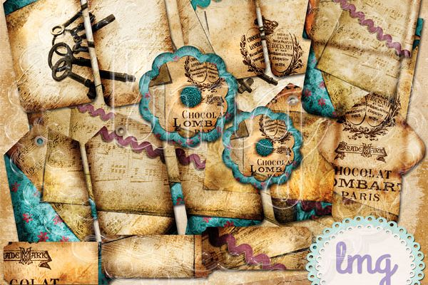 Vintage Chocolate Junk Journal Kit example image