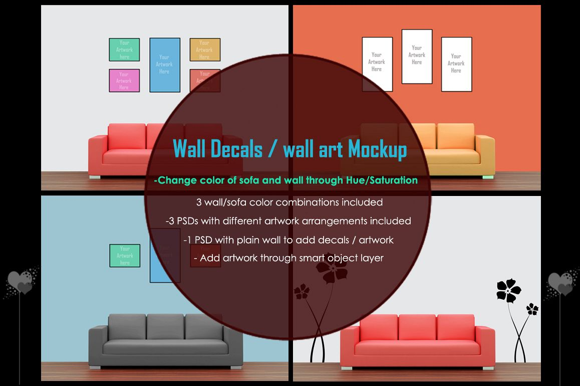 Wall art / decals / poster Mockup v1 example image