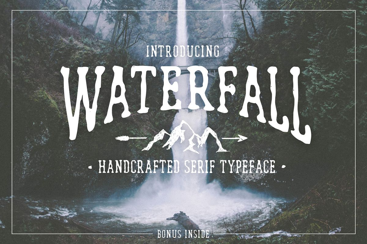 Waterfall. Handcrafted Font (+bonus) example image