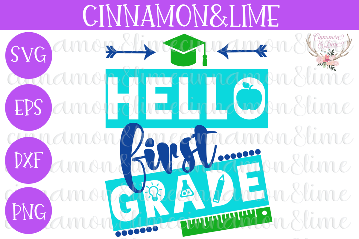 Hello First Grade, Back to School SVG example image