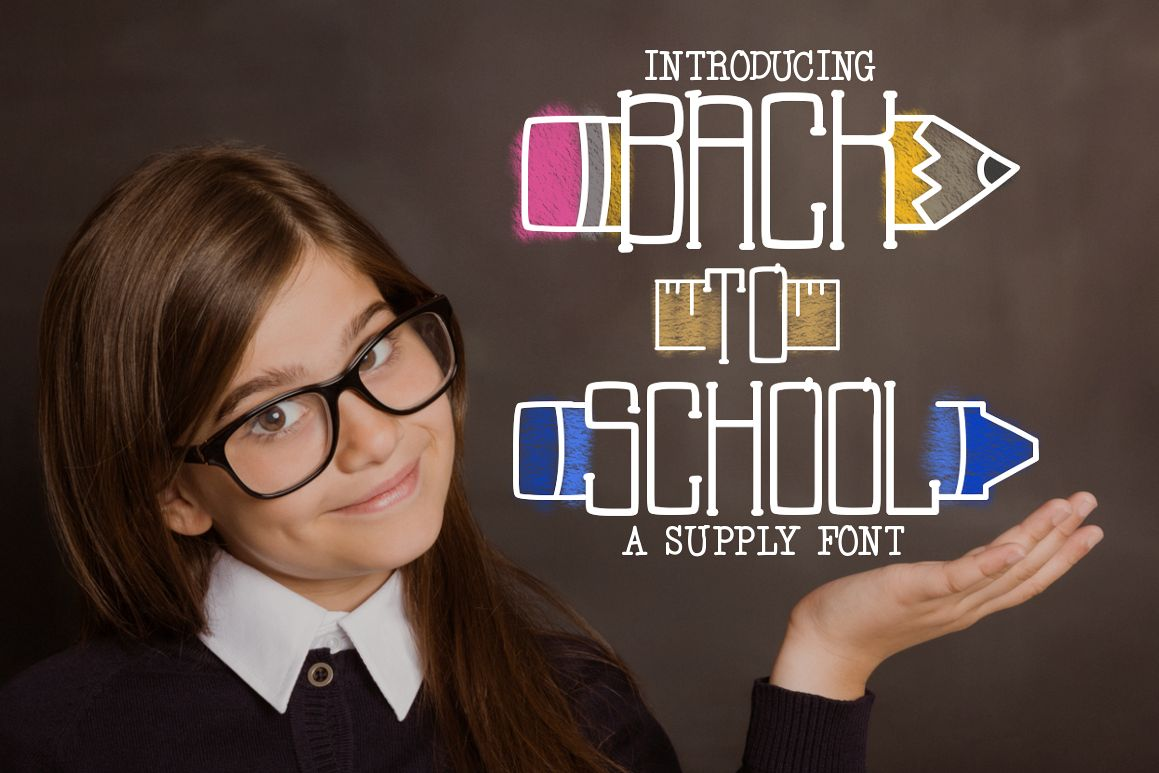 Back to School a Supply Font example image