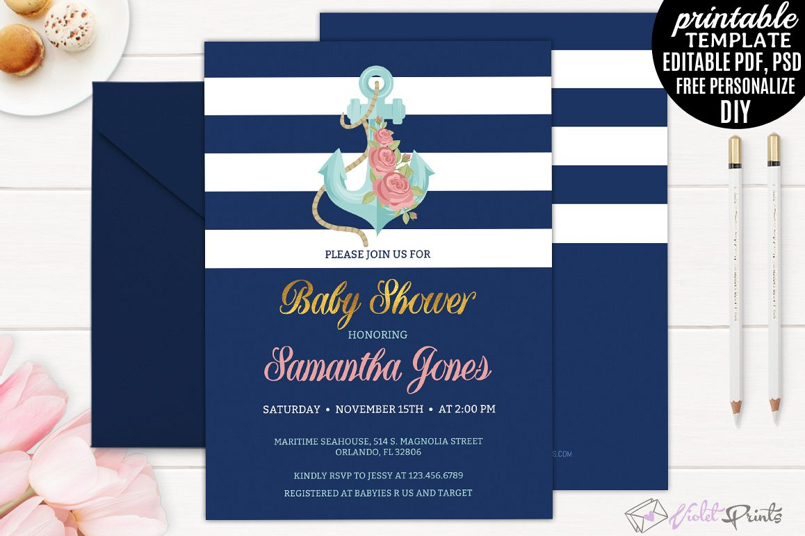 Nautical Navy and Gold Baby Shower Invi | Design Bundles