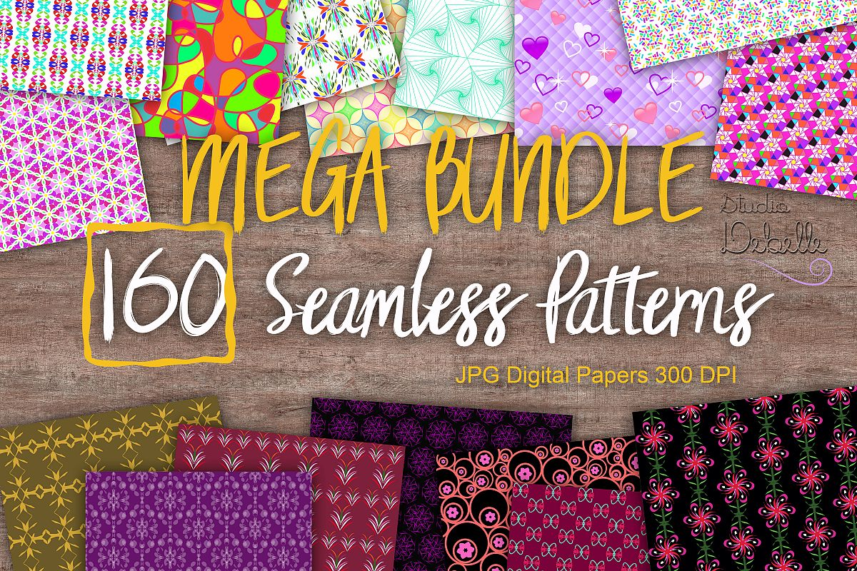 MEGA BUNDLE 160 Seamless Patterns Digital Paper example image