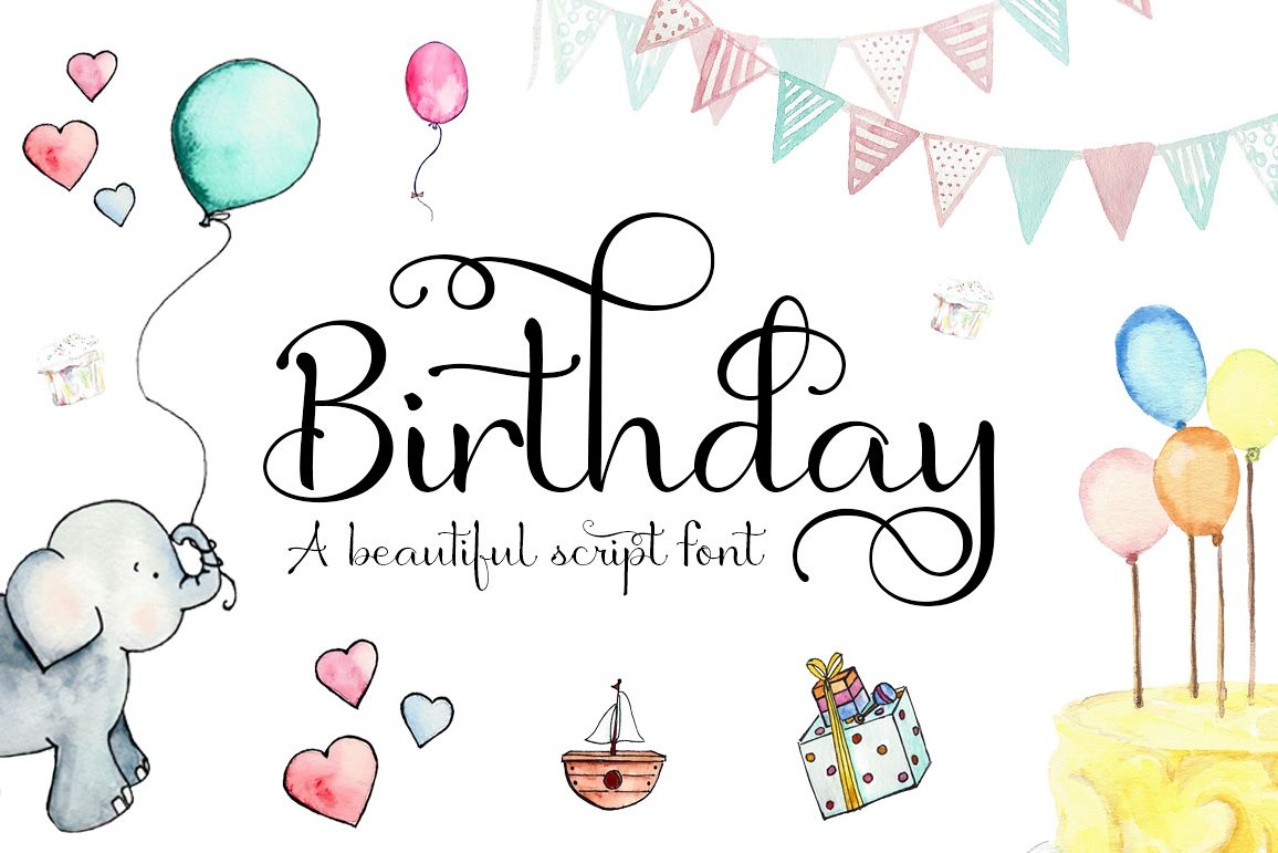 Birthday Script Font example image