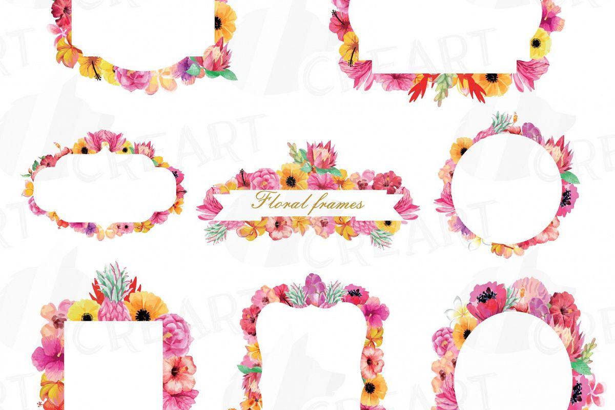 Floral frames watercolor clip art colle | Design Bundles