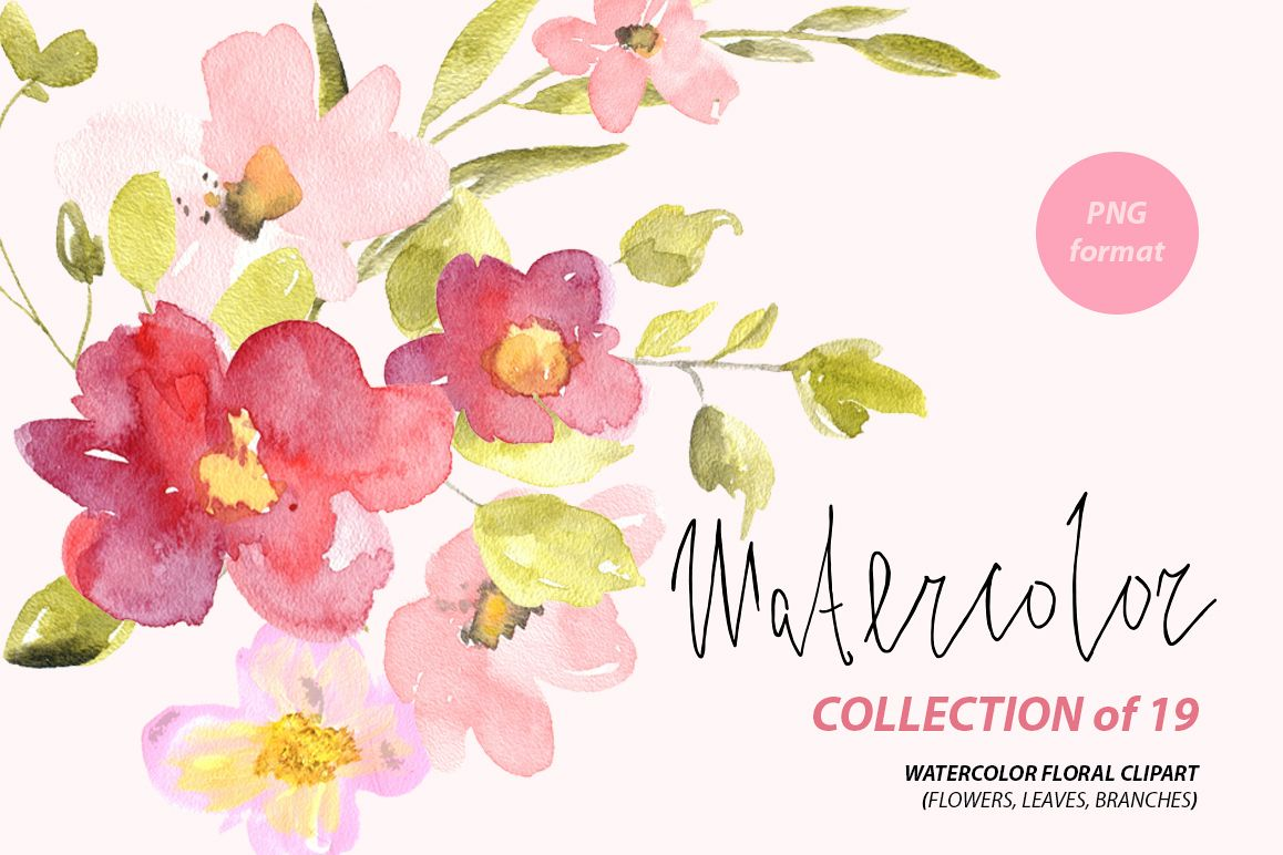 Watercolor red pink flowers png by wa design bundles watercolor red pink flowers png example image mightylinksfo