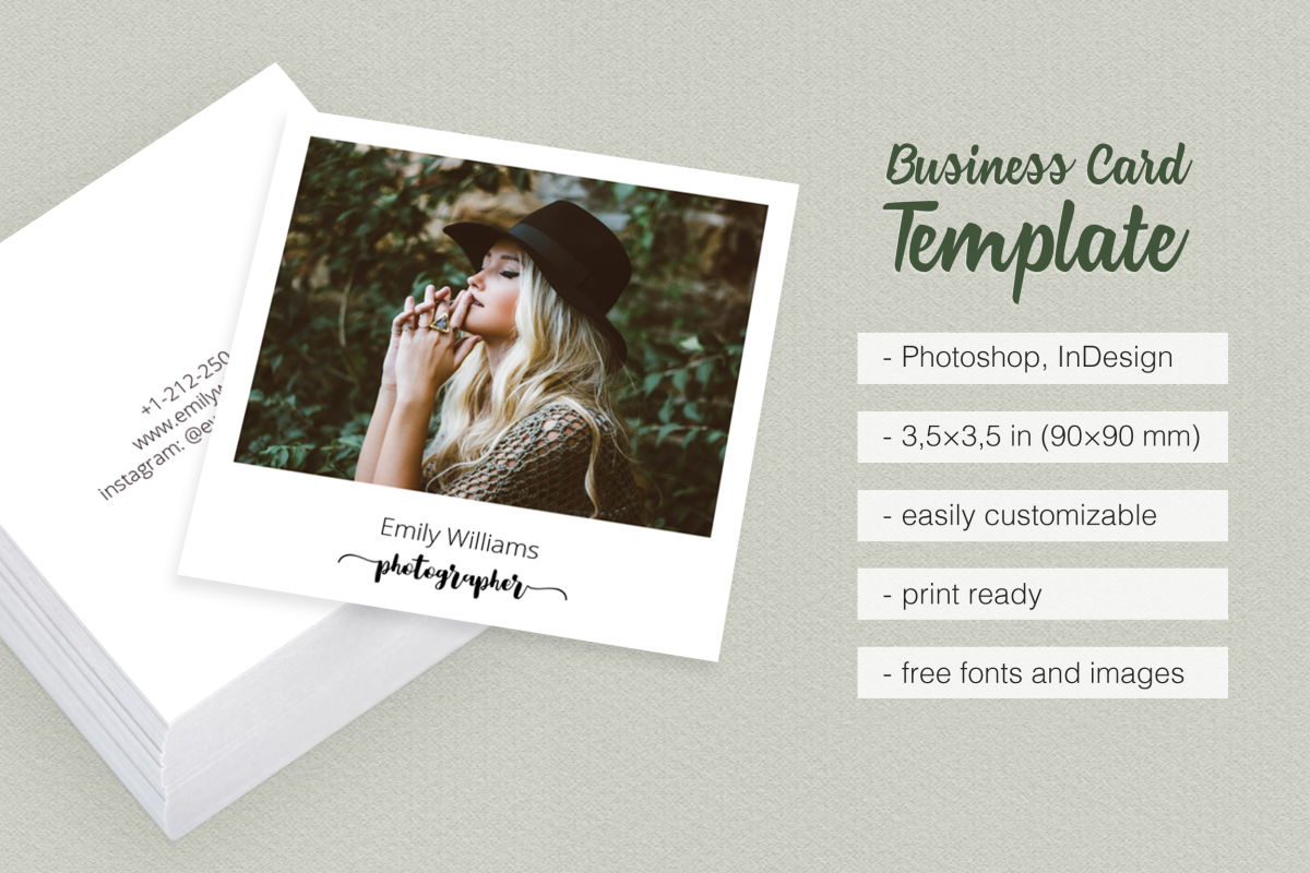 Square polaroid photographer business c design bundles square polaroid photographer business card example image fbccfo Gallery