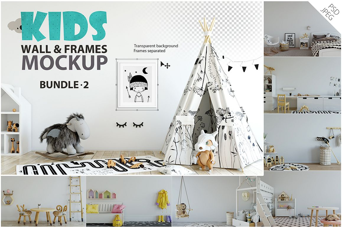 KIDS WALL & FRAMES Mockup Bundle - 2 example image