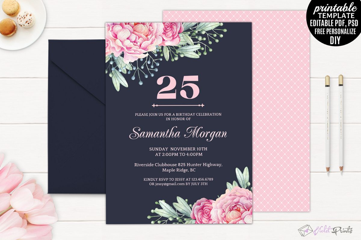 Navy and Pink Watercolor Flowers 25th B   Design Bundles
