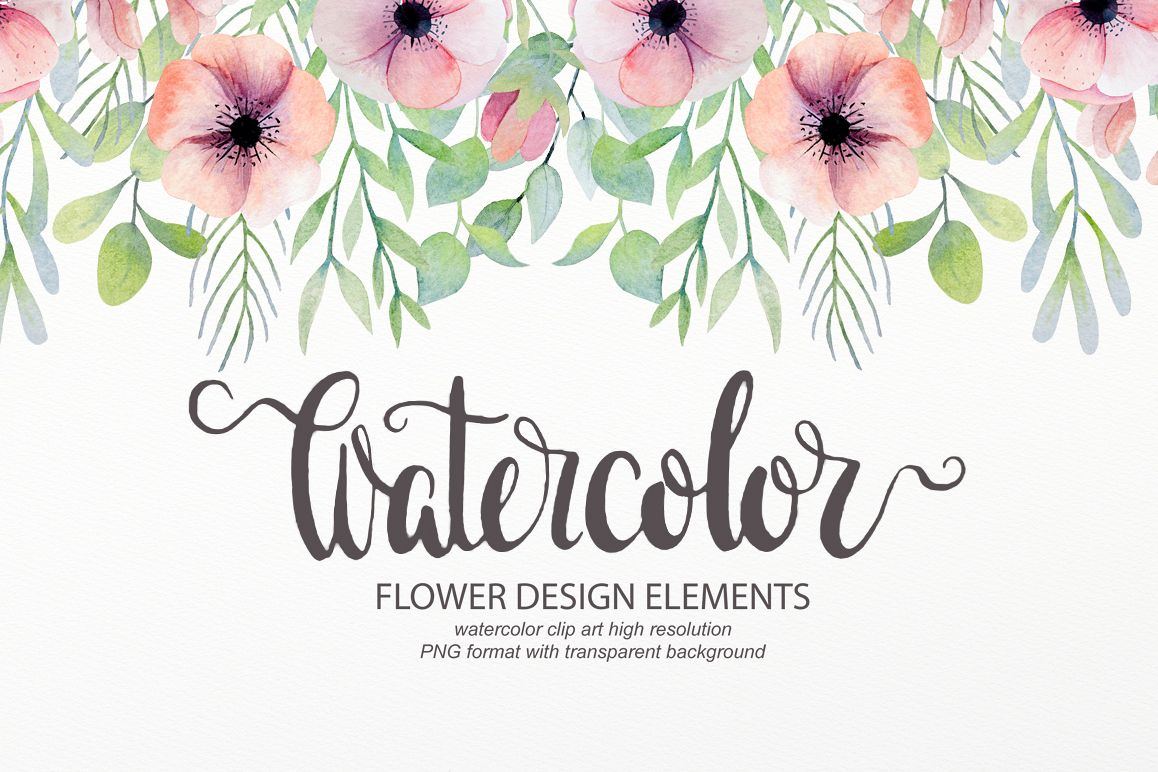 Watercolor Floral Design Elements By La Design Bundles