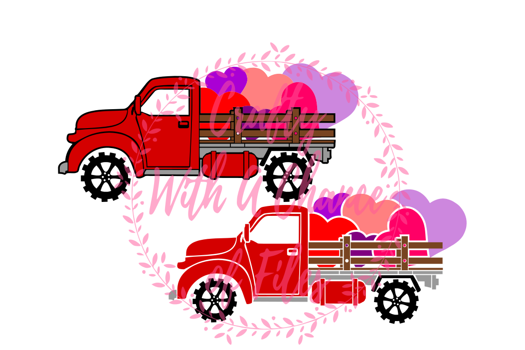 Valentines Day Vintage Red Truck Of Hearts Farm Valentine Love SVG Vector Cutting File