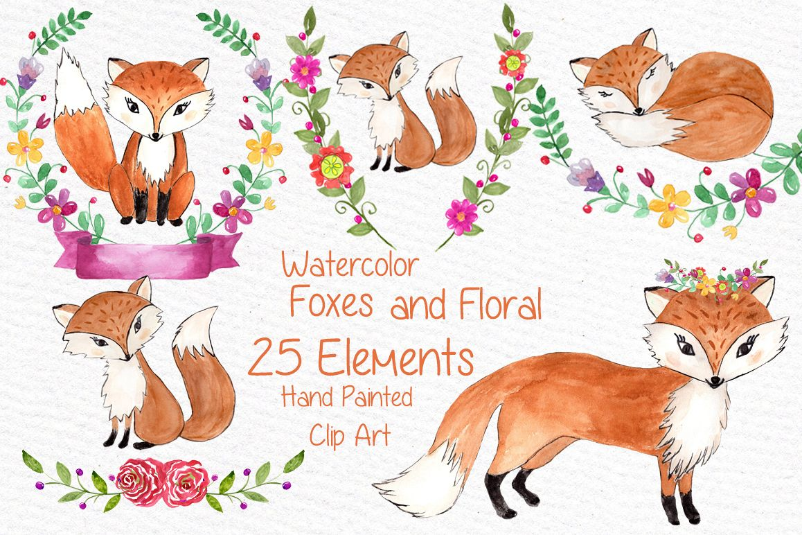watercolor fox clipart by vivastarkids design bundles rh designbundles net fox clipart cute fox clipart cute