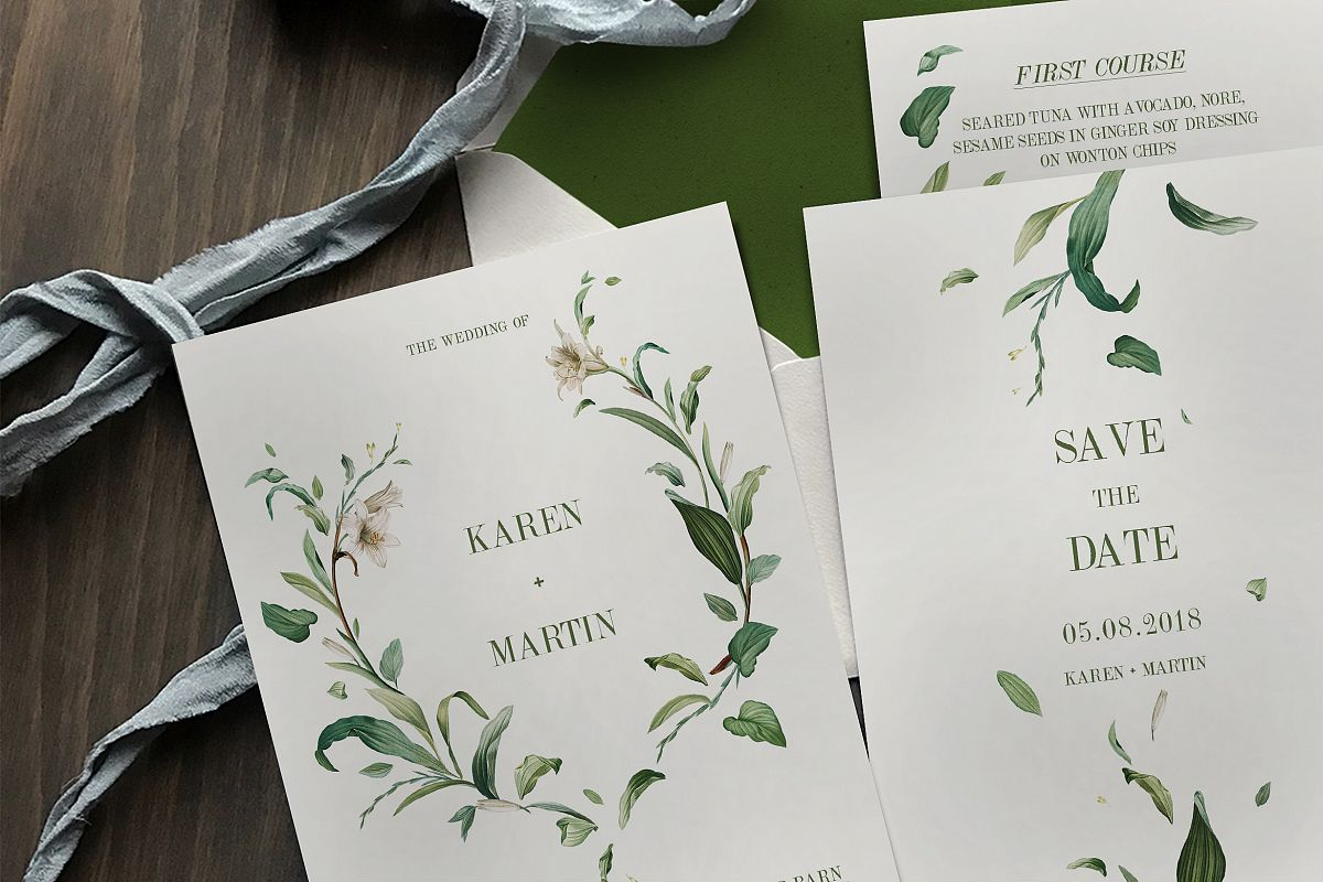 Green Foliage Wedding Invitation Suite | Design Bundles