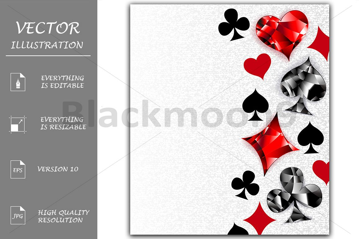 Gray Background with Polygonal Playing Cards Symbols example image