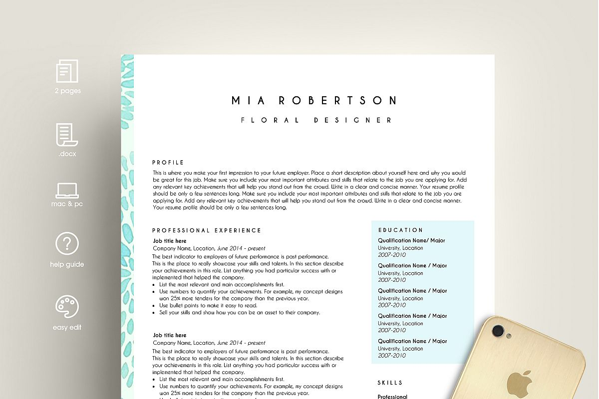 Creative Resume Template Word  Floral  Design Bundles