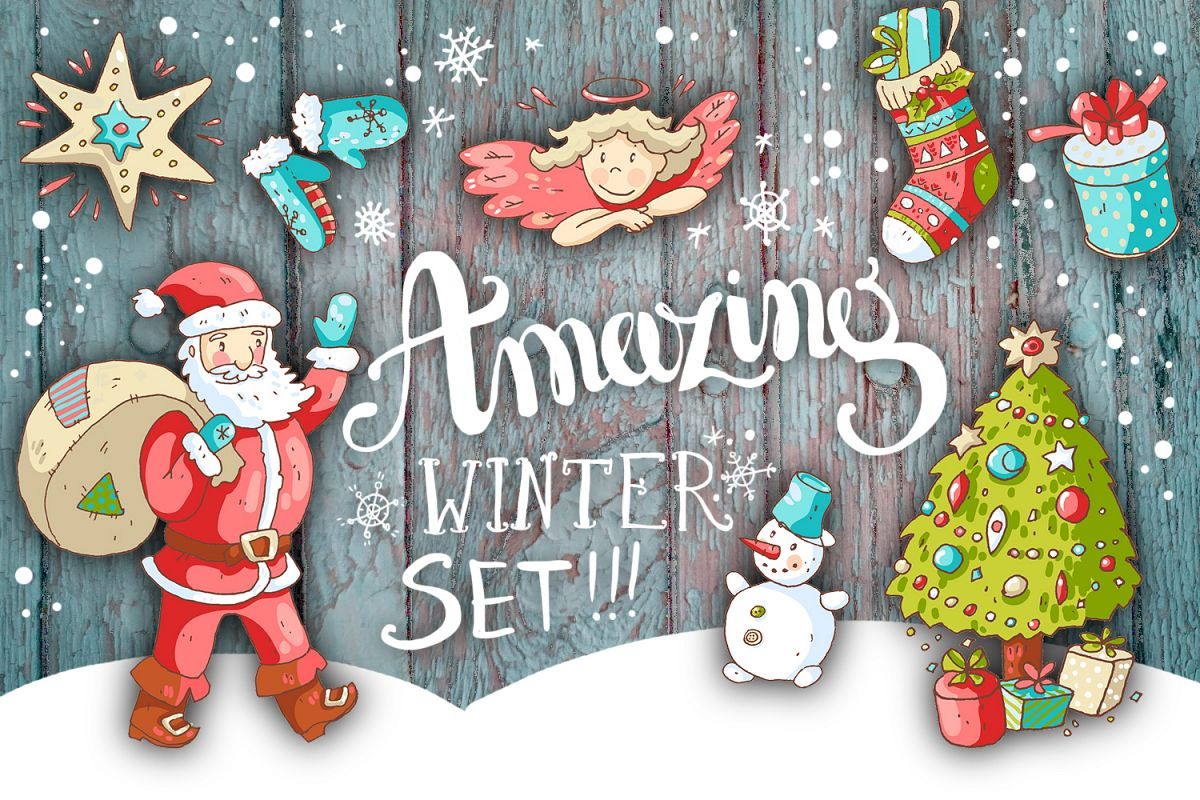 Cute doodle Xmas and New Year example image