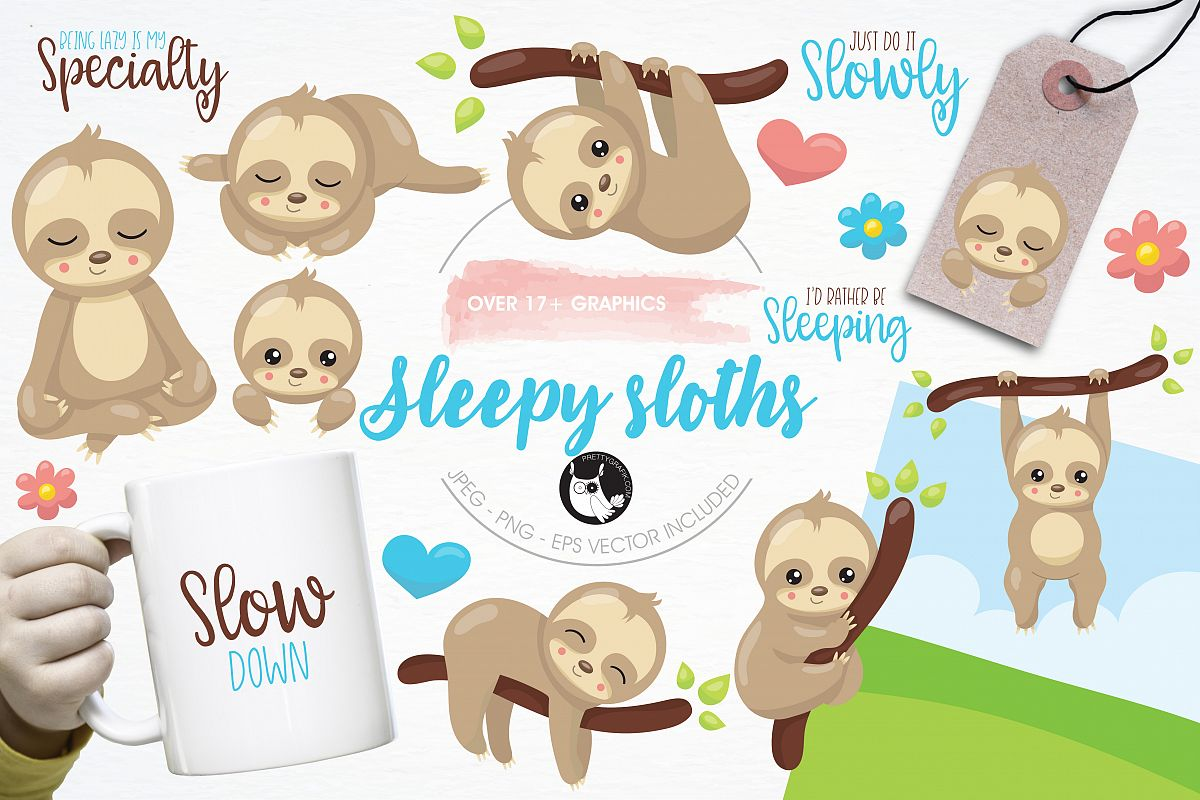 Sleepy sloth graphics and illustrations example image