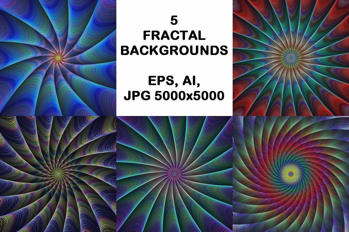 5 fractal design backgrounds (AI, EPS, JPG 5000x5000) example image