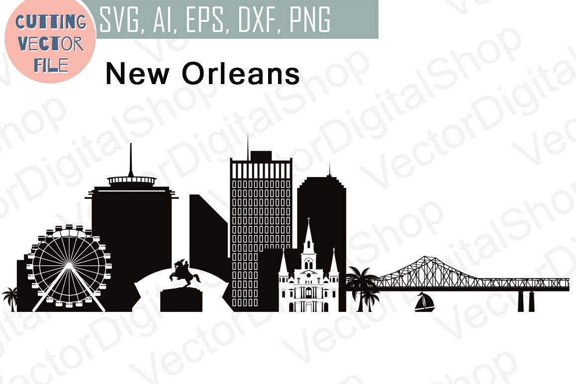 new orleans vector louisiana skyline u design bundles rh designbundles net Louisiana Skyline Forum La Skyline Day