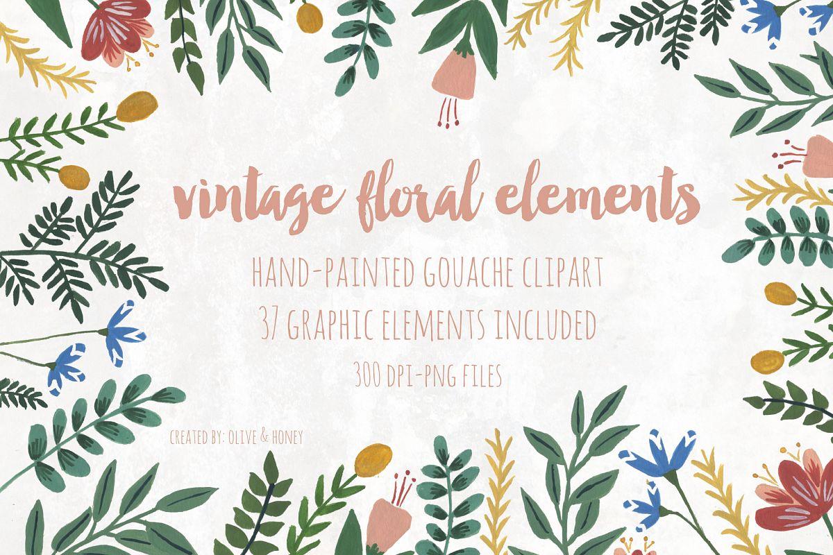 Vintage Flowers & Leaves example image