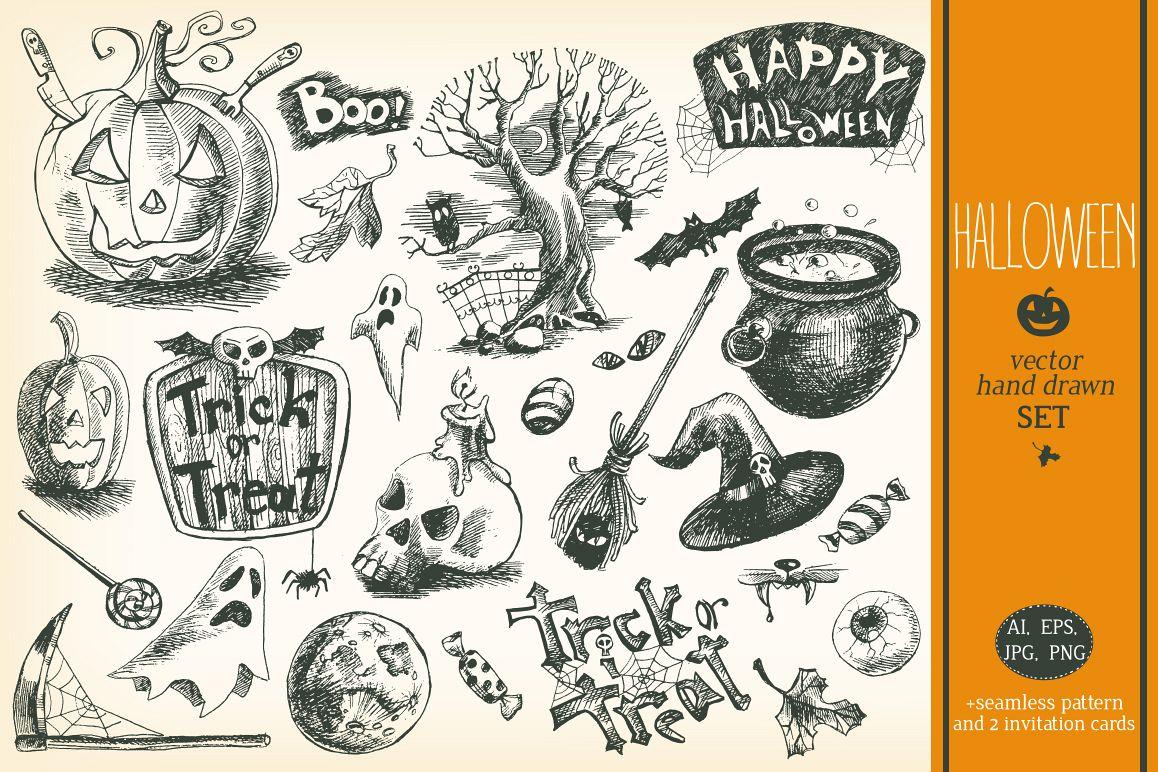 Hand drawn vector Halloween set example image