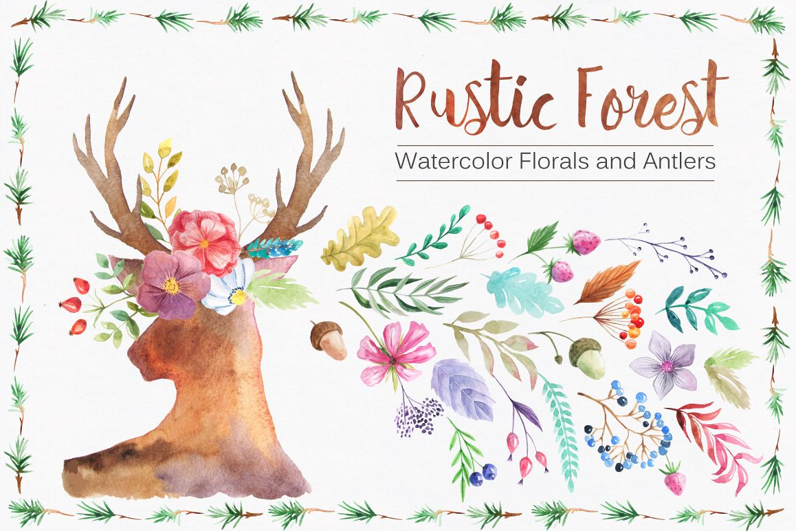 Watercolor Rustic Forest Set example image