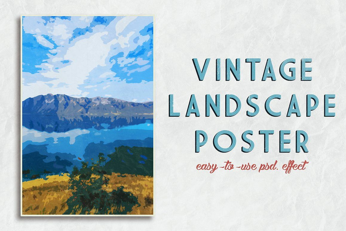 Vintage Landscape Poster Template by Cr | Design Bundles