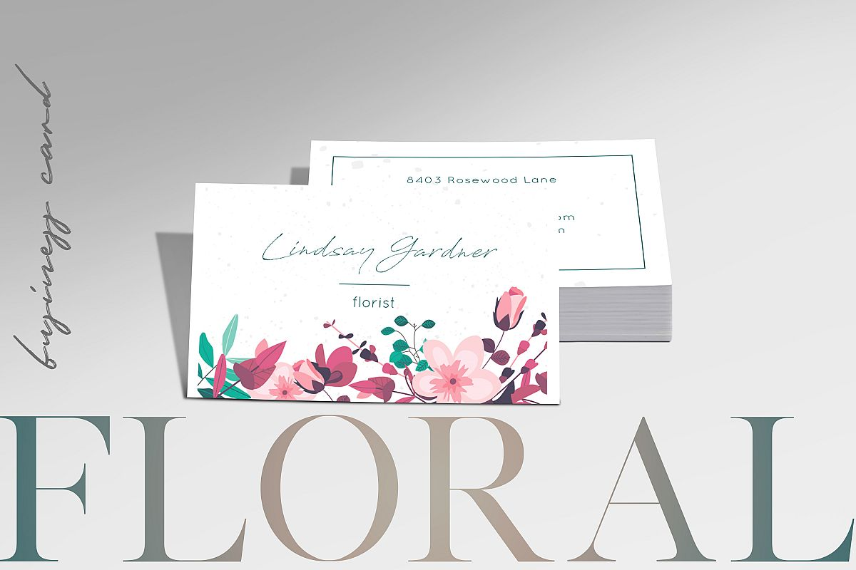 Floral Business Card by Awesome Templat | Design Bundles