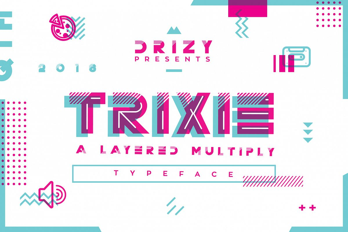 Trixie Layered Multiply Typeface example image