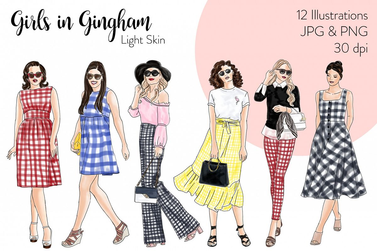 Fashion illustration clipart - Girls in Gingham - Light Skin example image