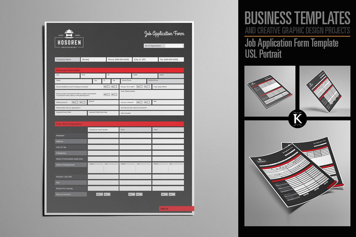 Job Application Form Template USL Portr | Design Bundles