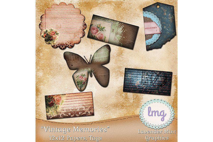 Vintage Memories Digital Scrapbook Papers example image 2