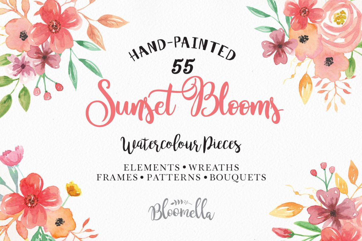 Sunset Flower Watercolor Floral Flowers Design Bundles