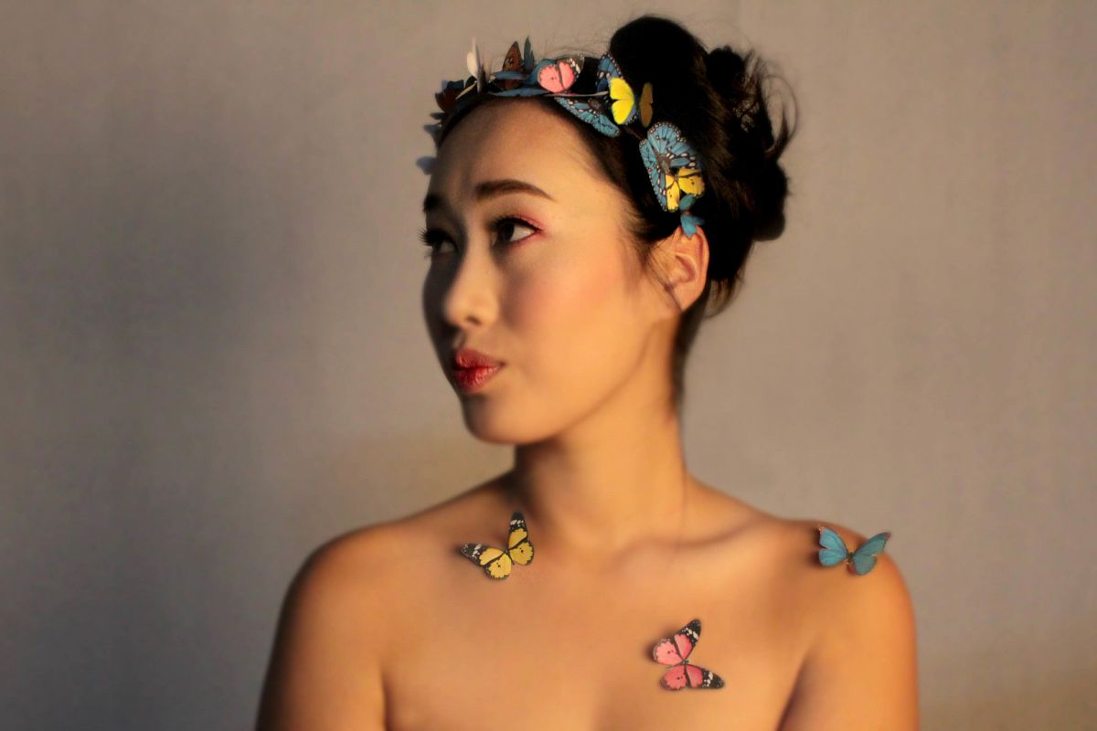 Butterfly girl vintage look example image
