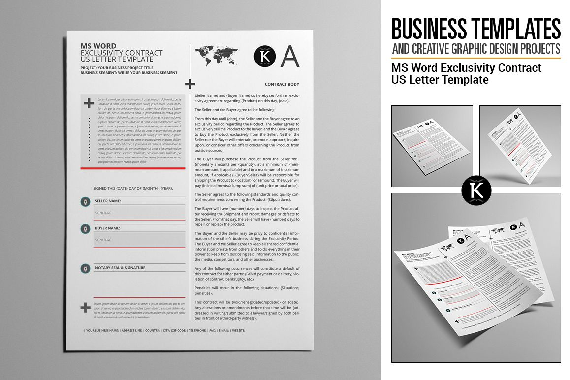 MS Word Exclusivity Contract US Letter   Design Bundles