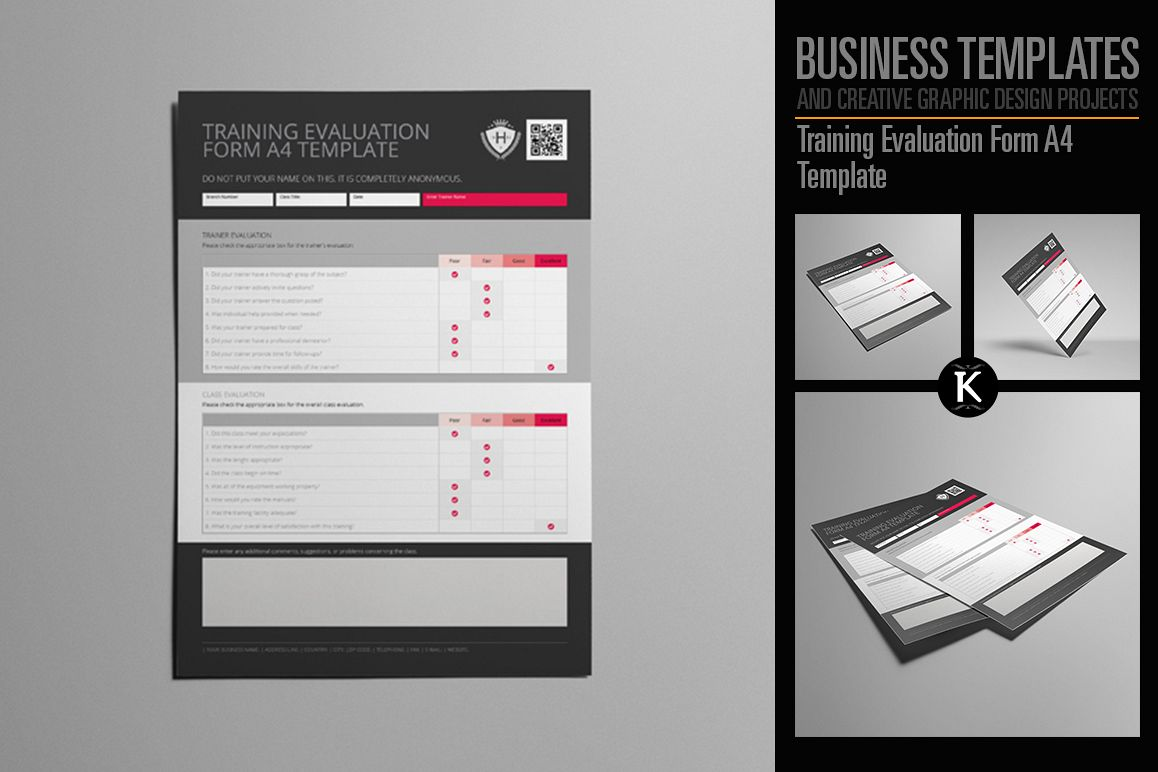 Training Evaluation Form A4 Template by | Design Bundles