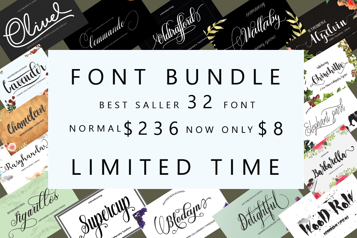 FONT BUNDLES COLECTION 2018 example image