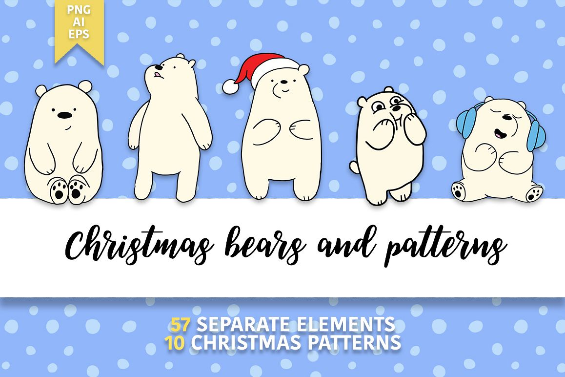 Christmas bears and patterns example image